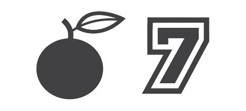 Symbolen van oranje en het getal zeven