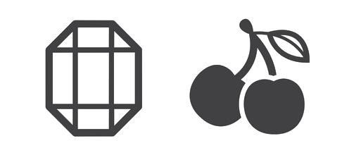 Symbolen van kersen en diamanten